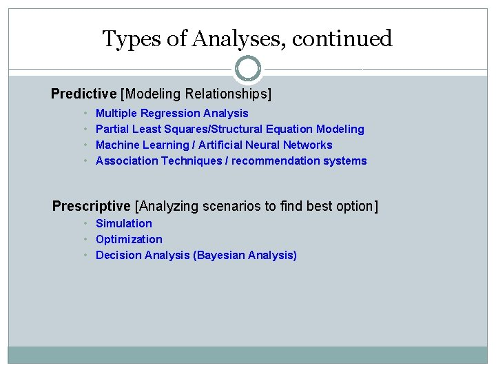 Types of Analyses, continued Predictive [Modeling Relationships] • • Multiple Regression Analysis Partial Least