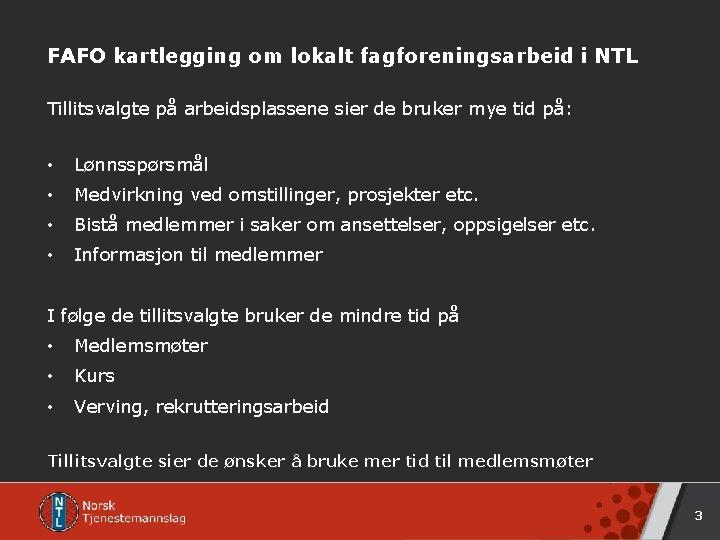 FAFO kartlegging om lokalt fagforeningsarbeid i NTL Tillitsvalgte på arbeidsplassene sier de bruker mye