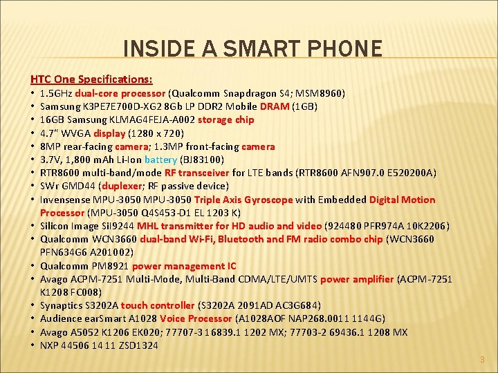 INSIDE A SMART PHONE HTC One Specifications: • • • • • 1. 5