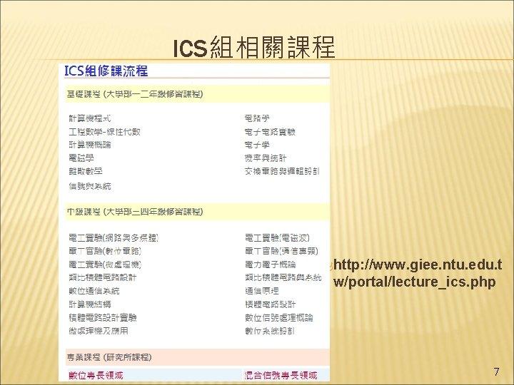ICS組相關課程 http: //www. giee. ntu. edu. t w/portal/lecture_ics. php 7