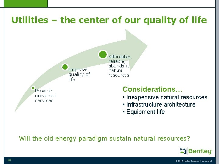 Utilities – the center of our quality of life Improve quality of life Provide