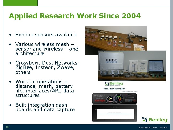 Applied Research Work Since 2004 • Explore sensors available • Various wireless mesh –