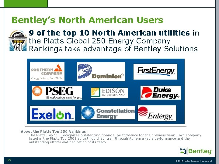 Bentley's North American Users • 9 of the top 10 North American utilities in