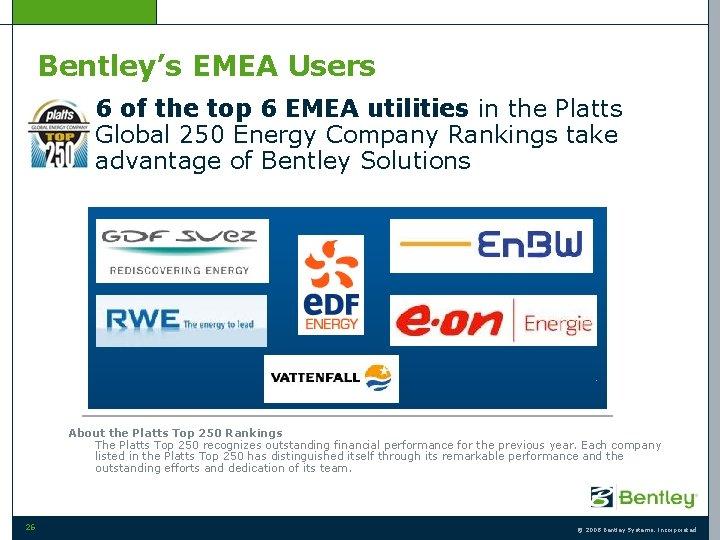 Bentley's EMEA Users • 6 of the top 6 EMEA utilities in the Platts