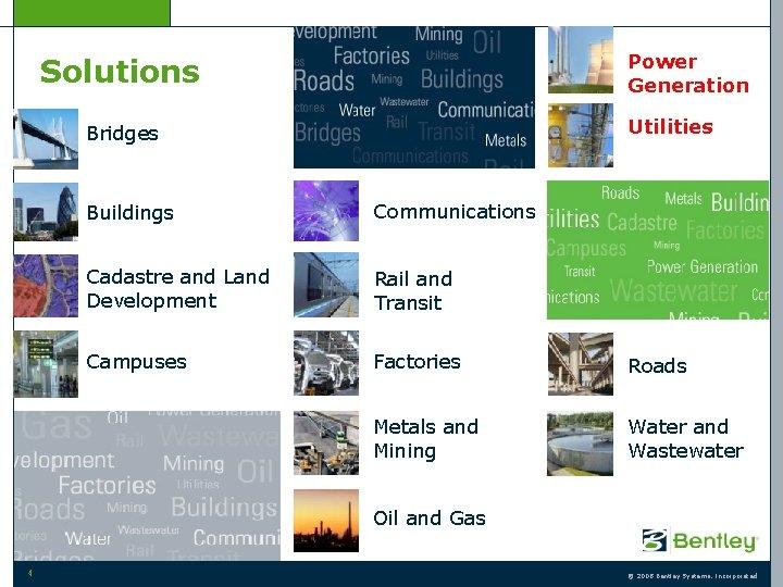 Power Generation Solutions Utilities Bridges Buildings Communications Cadastre and Land Development Rail and Transit