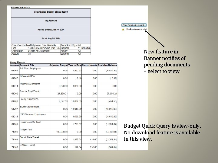 New feature in Banner notifies of pending documents – select to view Budget Quick