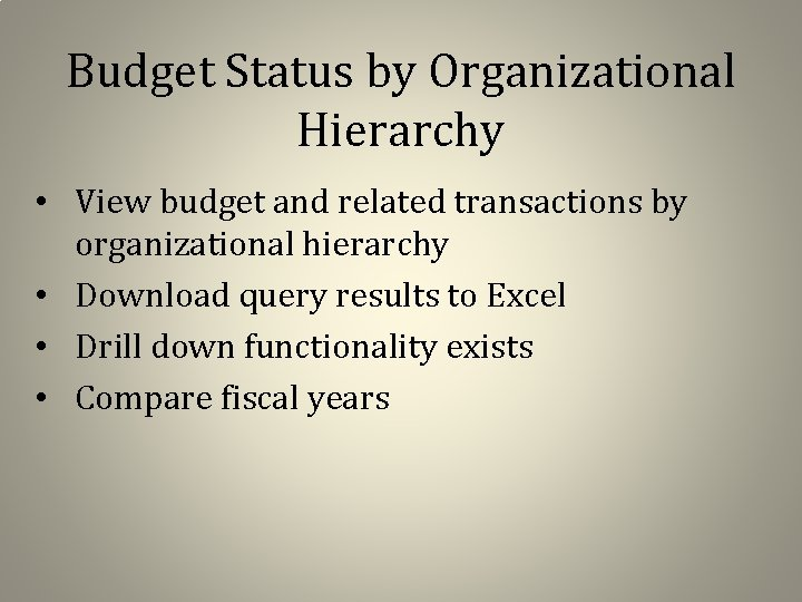 Budget Status by Organizational Hierarchy • View budget and related transactions by organizational hierarchy