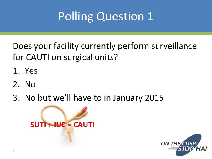 Polling Question 1 Does your facility currently perform surveillance for CAUTI on surgical units?
