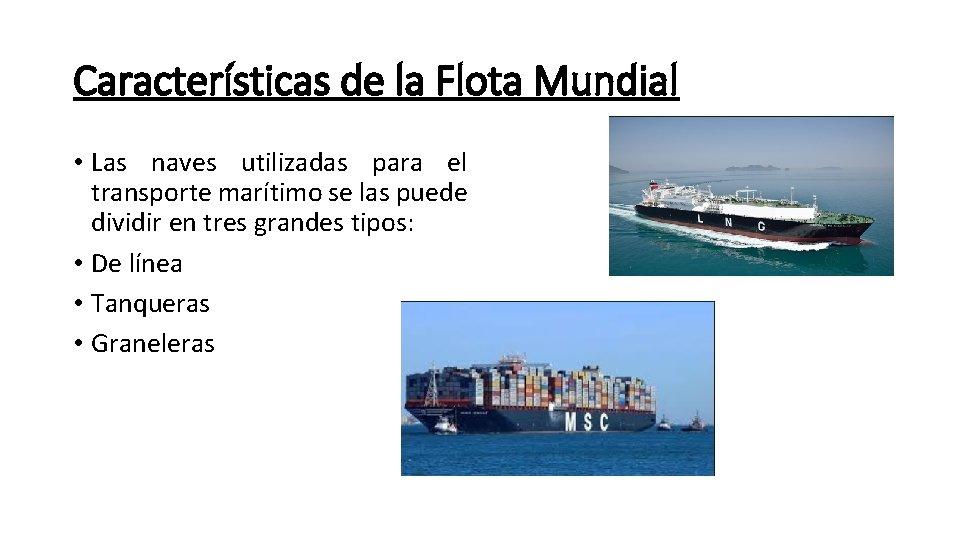 Características de la Flota Mundial • Las naves utilizadas para el transporte marítimo se