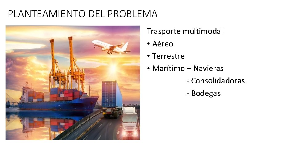 PLANTEAMIENTO DEL PROBLEMA Trasporte multimodal • Aéreo • Terrestre • Marítimo – Navieras -
