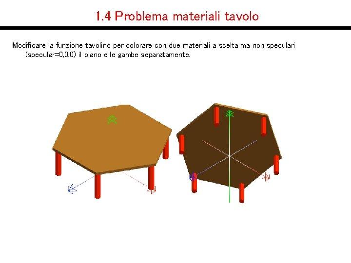 1. 4 Problema materiali tavolo Modificare la funzione tavolino per colorare con due materiali