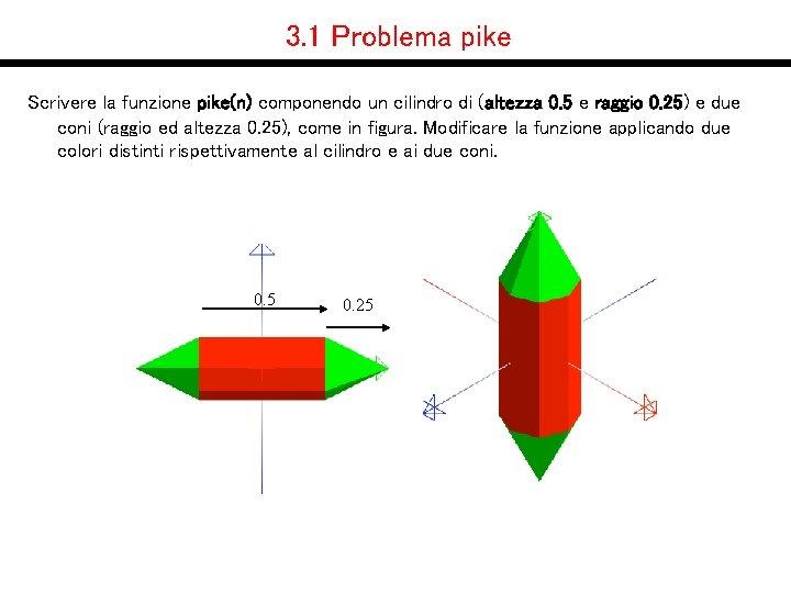 3. 1 Problema pike Scrivere la funzione pike(n) componendo un cilindro di (altezza 0.