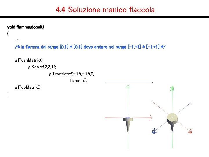 4. 4 Soluzione manico fiaccola void fiammaglobal() { … /* la fiamma dal range