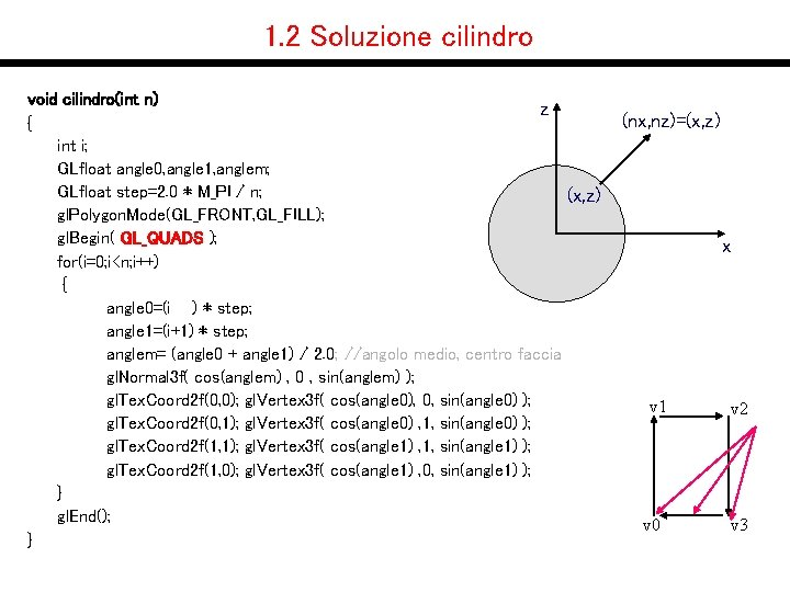 1. 2 Soluzione cilindro void cilindro(int n) z { int i; GLfloat angle 0,