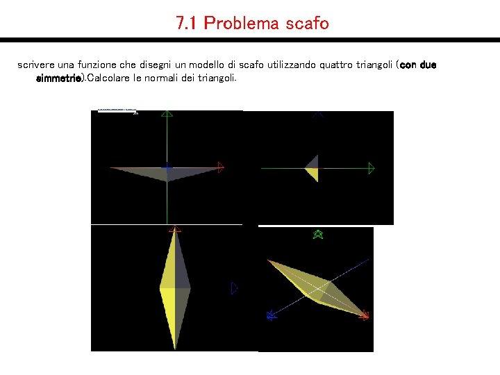 7. 1 Problema scafo scrivere una funzione che disegni un modello di scafo utilizzando