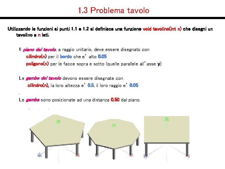 1. 3 Problema tavolo Utilizzando le funzioni ai punti 1. 1 e 1. 2