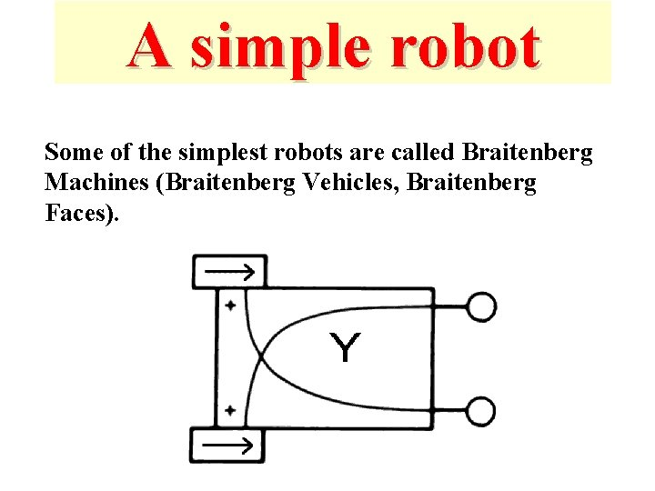 A simple robot Some of the simplest robots are called Braitenberg Machines (Braitenberg Vehicles,