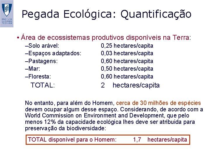 Pegada Ecológica: Quantificação • Área de ecossistemas produtivos disponíveis na Terra: –Solo arável: –Espaços