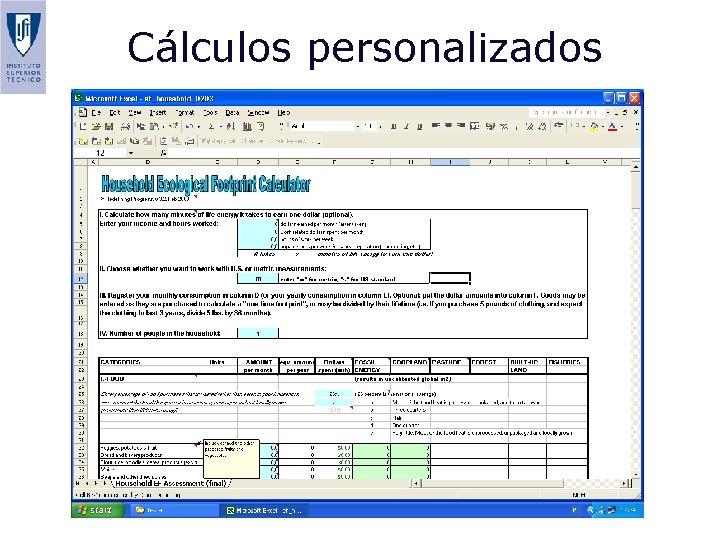 Cálculos personalizados