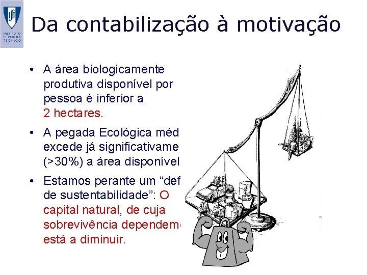 Da contabilização à motivação • A área biologicamente produtiva disponível por pessoa é inferior