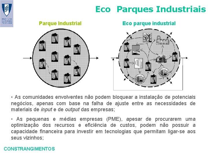 Eco Parques Industriais Parque Industrial Eco parque industrial • As comunidades envolventes não podem
