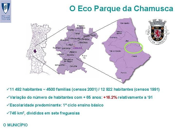 O Eco Parque da Chamusca ü 11 492 habitantes ~ 4500 familias (censos 2001)