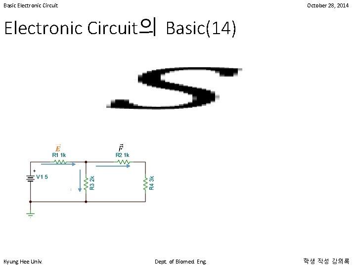 Basic Electronic Circuit October 28, 2014 Electronic Circuit의 Basic(14) • Kyung Hee Univ. Dept.