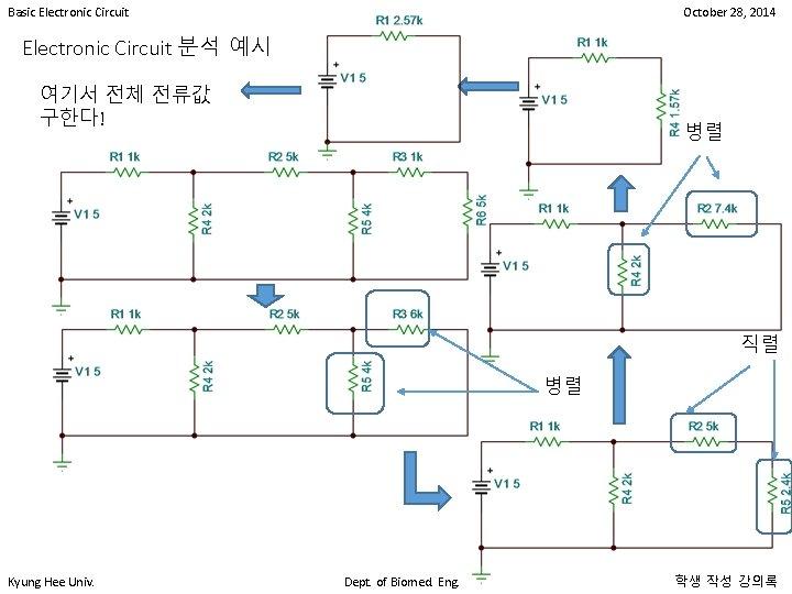 Basic Electronic Circuit October 28, 2014 Electronic Circuit 분석 예시 여기서 전체 전류값 구한다!