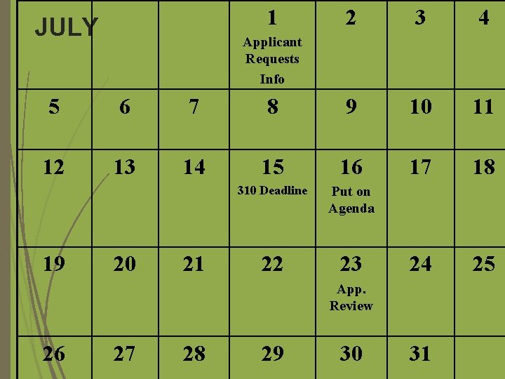 1 JULY 2 3 4 Applicant Requests Info 5 6 7 8 9 10