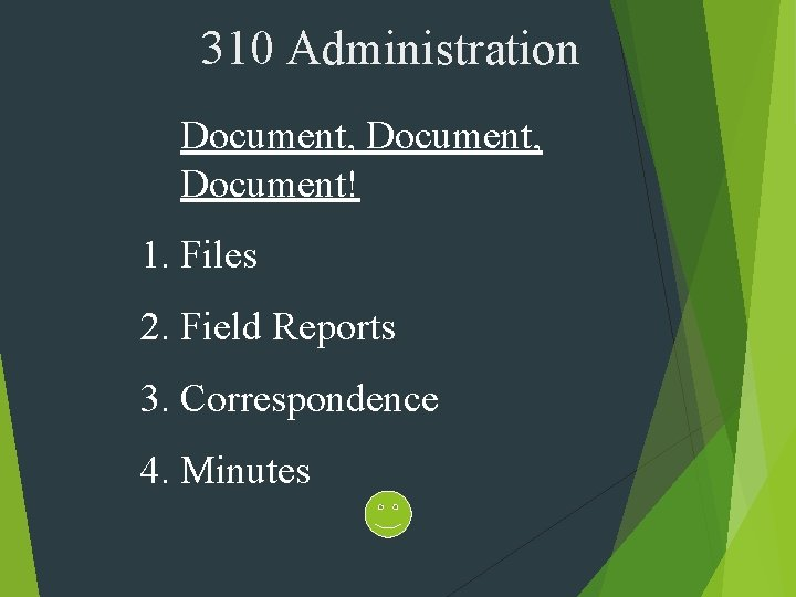 310 Administration Document, Document! 1. Files 2. Field Reports 3. Correspondence 4. Minutes