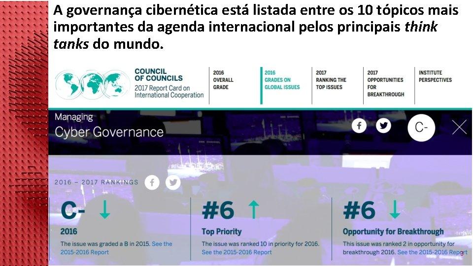A governança cibernética está listada entre os 10 tópicos mais importantes da agenda internacional