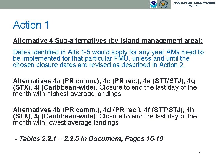Timing of AM-Based Closures Amendment August 2016 Action 1 Alternative 4 Sub-alternatives (by island