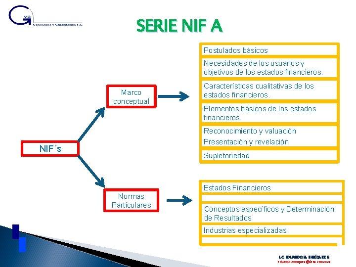 SERIE NIF A Postulados básicos Necesidades de los usuarios y objetivos de los estados