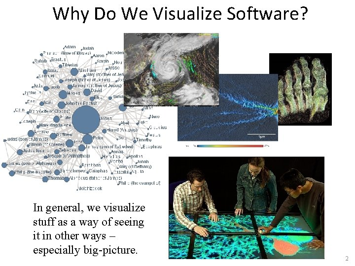 Why Do We Visualize Software? In general, we visualize stuff as a way of
