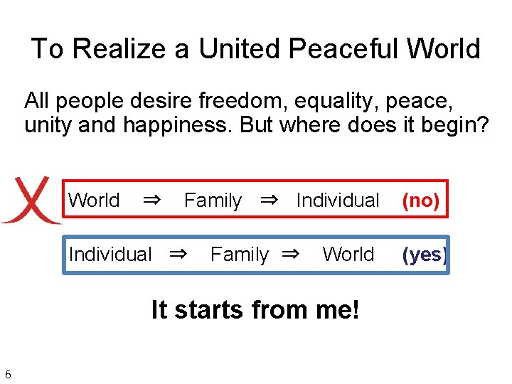 To Realize a United Peaceful World All people desire freedom, equality, peace, unity and