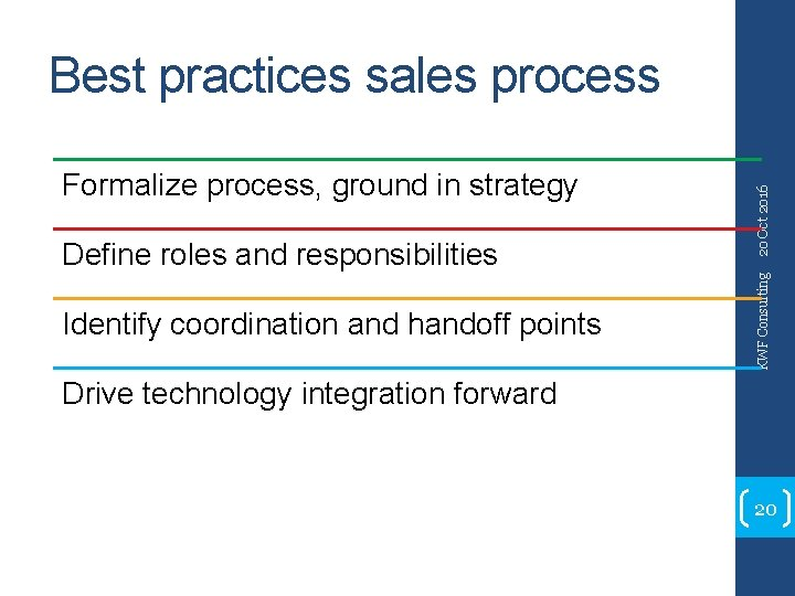 Define roles and responsibilities Identify coordination and handoff points KWF Consulting Formalize process, ground