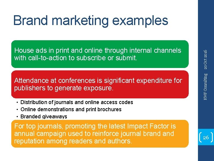 Attendance at conferences is significant expenditure for publishers to generate exposure. • Distribution of