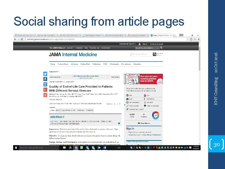 KWF Consulting 20 Oct 2016 Social sharing from article pages 30