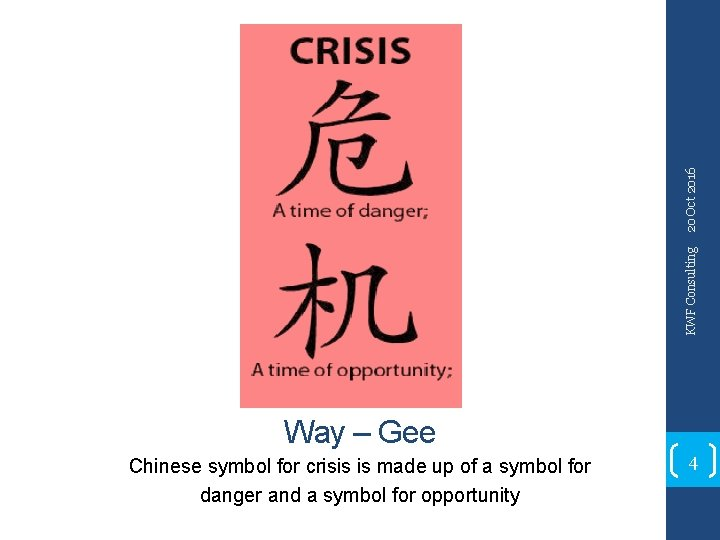 20 Oct 2016 KWF Consulting Way – Gee Chinese symbol for crisis is made