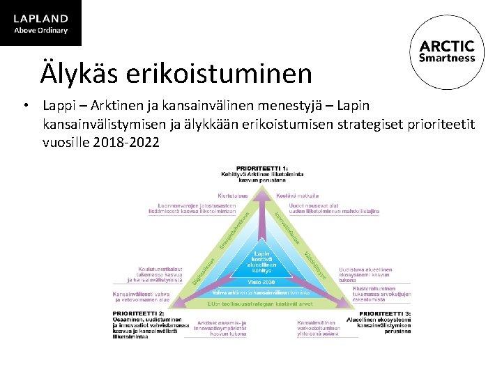 Älykäs erikoistuminen • Lappi – Arktinen ja kansainvälinen menestyjä – Lapin kansainvälistymisen ja älykkään