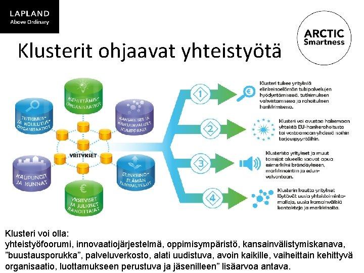 """Klusterit ohjaavat yhteistyötä Klusteri voi olla: yhteistyöfoorumi, innovaatiojärjestelmä, oppimisympäristö, kansainvälistymiskanava, """"buustausporukka"""", palveluverkosto, alati uudistuva,"""