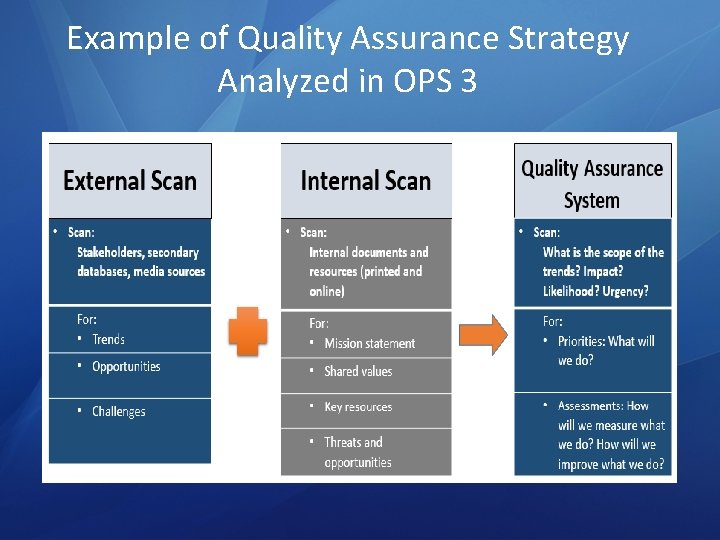 Example of Quality Assurance Strategy Analyzed in OPS 3