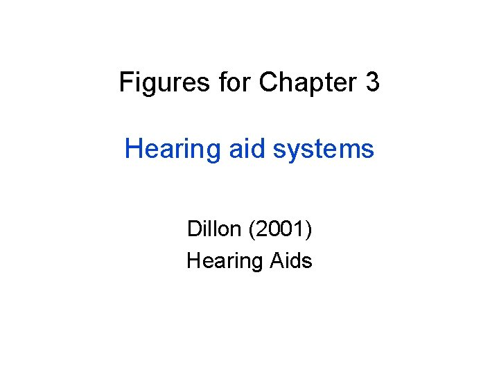 Figures for Chapter 3 Hearing aid systems Dillon (2001) Hearing Aids