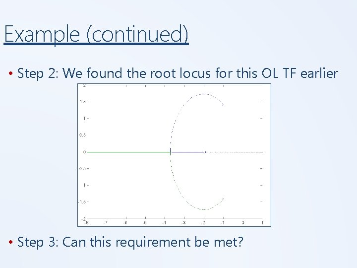 Example (continued) • Step 2: We found the root locus for this OL TF