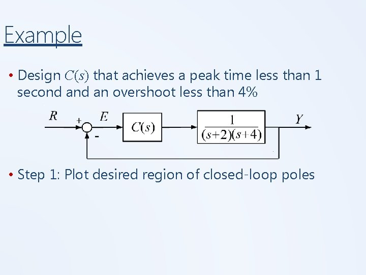 Example • Design C(s) that achieves a peak time less than 1 second an
