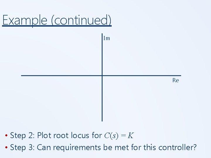 Example (continued) Im Re • Step 2: Plot root locus for C(s) = K