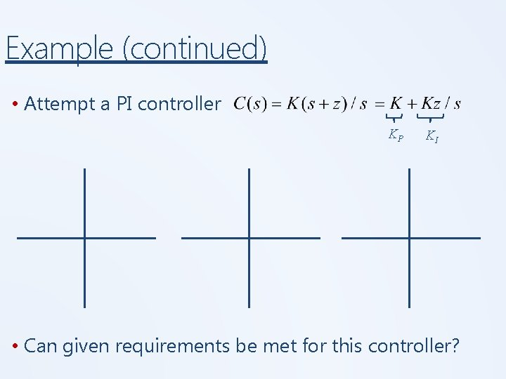 Example (continued) • Attempt a PI controller KP KI • Can given requirements be