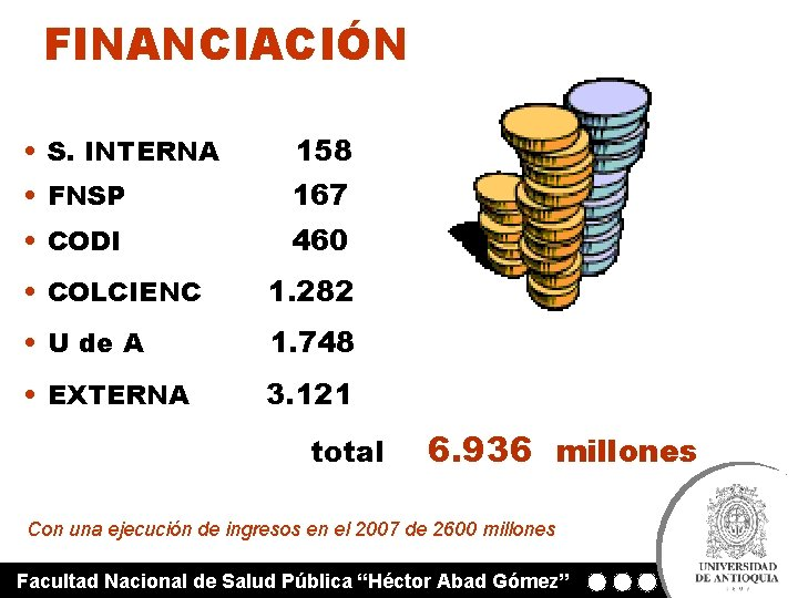 FINANCIACIÓN • S. INTERNA 158 • FNSP 167 • CODI 460 • COLCIENC 1.