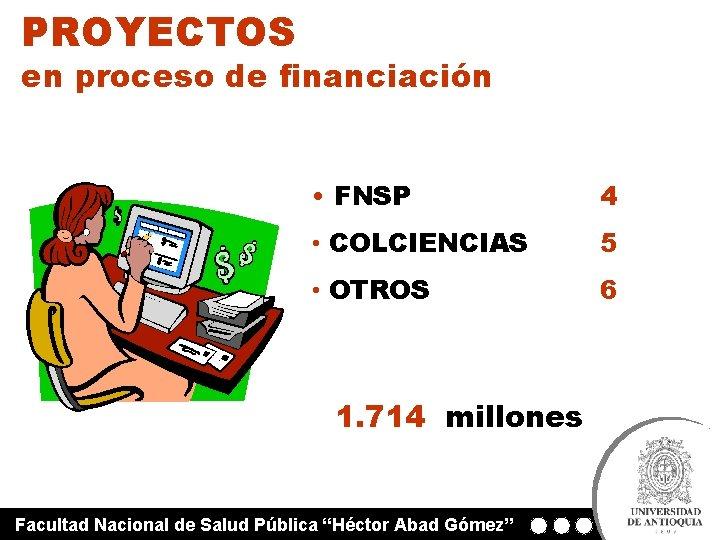 PROYECTOS en proceso de financiación • FNSP 4 • COLCIENCIAS 5 • OTROS 6