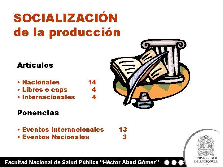 SOCIALIZACIÓN de la producción Artículos • Nacionales • Libros o caps • Internacionales 14